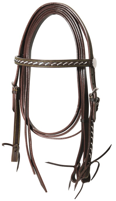 Western Headstall Set Smooth Silver Lakota Brun